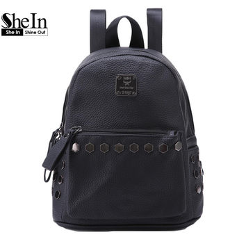 SheIn Black Double Handle Spiked Medium PU Backpacks Womens Fashion Brand Bags Casual Faux Leather Studded Backpack