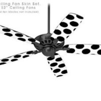 Kearas Polka Dots White And Black - Ceiling Fan Skin Kit fits most 52 inch fans (FAN and BLADES SOLD SEPARATELY)