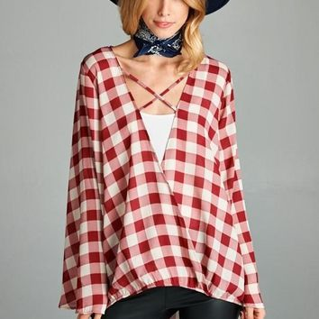 Holiday Boho Plaid Top