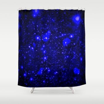 Dark Matter Galaxy Blue Shower Curtain by 2sweet4words Designs