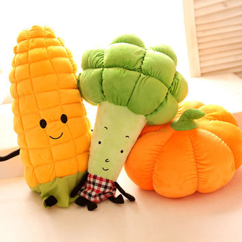 Cute super soft plush cartoon anime fruit vegetables Carrot Corn Broccoli sofa throw pillow toy doll,birthday gift for children