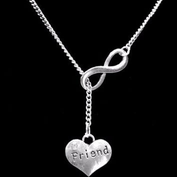 Infinity Friend Heart Friendship Gift Y Lariat Style Necklace