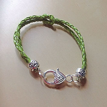 Lime Green or Black Love Knot Braided Leather Bracelet-Forget Me Knot-Melanoma-Narcolepsy-Mental Health-Hodgkin lymphoma Awareness-