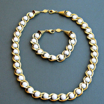 Vintage Gold Chain Necklace Set with Milk Glass Beads Napier