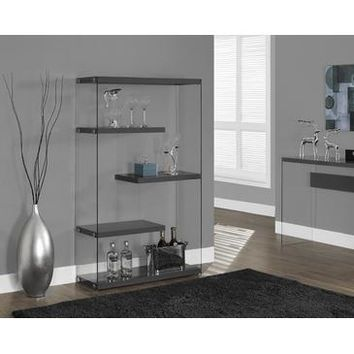 Monarch Specialties Glossy Grey Hollow-Core Tempered Glass Bookcase I 3296