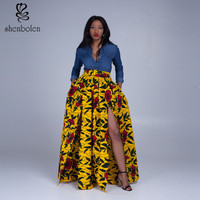 2016 new women Africa Clothing elegant maxi long skirt Classic dashiki batik printing 100% cotton Plus Size S-4XL