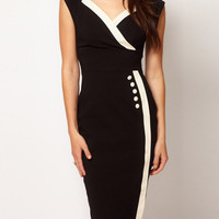 Black Sleeveless Bodycon Dress with Buttons