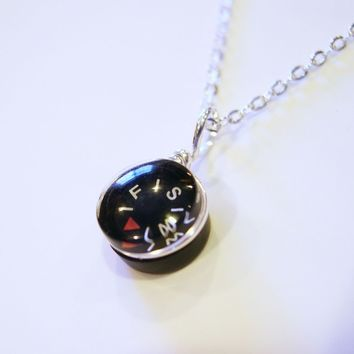 Tiny Compass Sterling Necklace - Micro Black