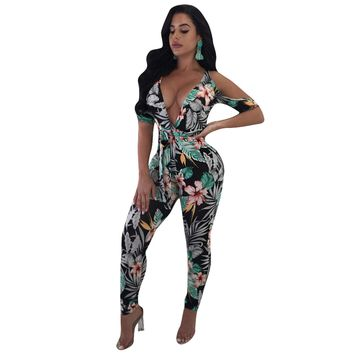 Bohemian V Neck Printed Green Polyester Women's sexy Jumpsuits & Rompers for Club Party