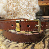Mens brown dress belt , extra long leather belt , handmade custom belt , long belt