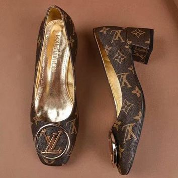 LV Louis Vuitton Fashion Ladies Fish mouth Heels Shoes Coffee I