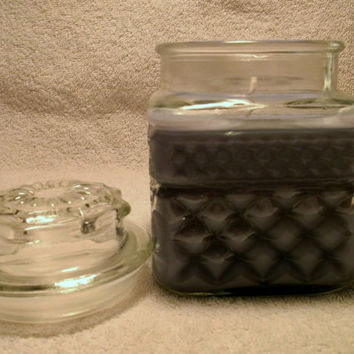 Lavender Vanilla Scented Square Glass 16 oz Jar Soy Candle with lid