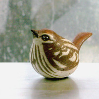 Ceramic Sparrow Sculpture in Stoneware