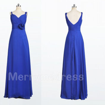 Light Royal Blue V-Neck V Back Flower Long Bridesmaid Dress,Floor length Chiffon Formal Evening Party Prom Dress New Homecoming Dress