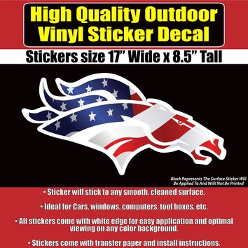 Denver Broncos American Flag Vinyl Car Window Laptop Bumper Sticker Decal