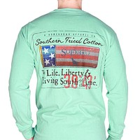 Liberty Shell Long Sleeve Pocket Tee in Chalky Mint by Southern Fried Cotton