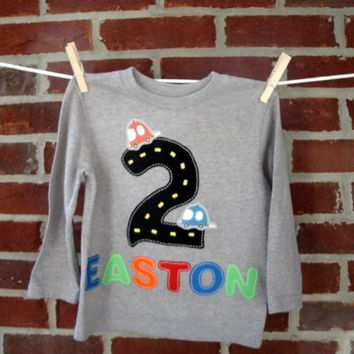 Transportation birthday shirt for baby or toddler boy, car birthday shirt, personalized with name, birthday 1st through 6th