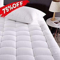 MEROUS Twin XL Size Cotton Mattress Pad Down Alternative Mattress Cover - Hypoallergenic Fitted Quilted Mattress Topper - Stretches up to 18 Inches Deep