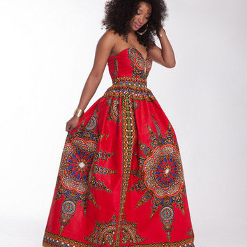 Plus Size African Wax Sweatheart Strapless Maxi Dress