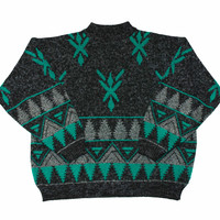Vintage 90s Black Sweater with Green/Gray Geometric Print Mens Size XL
