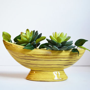 Vintage Ceramic Planter Yellow Banana Boat Planter Mid Century Modern McCoy Pottery Wave Console Bowl Harmony Line Planter Vase