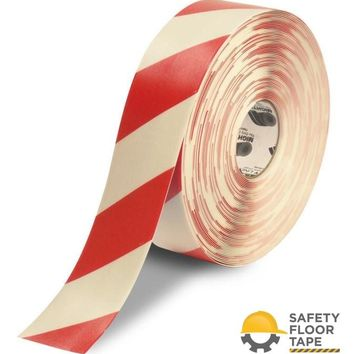"""3"""" White Tape with Red Chevrons - 100'  Roll"""