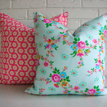 Floral Pillow Cover - Decorative Cushion - Soft Blue Pink Flowers - Shabby Chic Decor