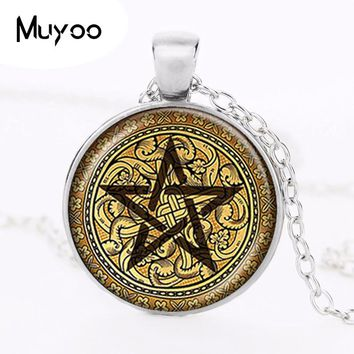 Golden Pentagram Necklace Cabochon Pentacle Pendant Ace of Pentacles Tarot Card Jewelry Wiccan Accessories Occult Jewellery HZ1