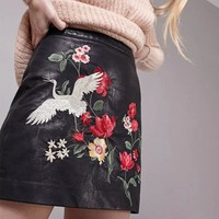 New Pu Leather Skirts Womens Floral Embroidery Skirts Black Mini High Waist Skirt