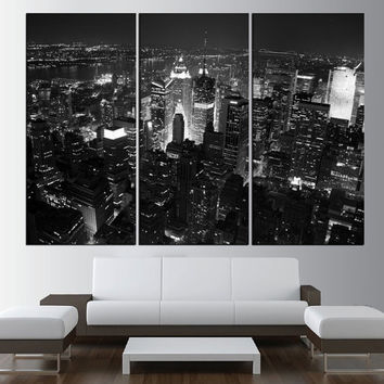 New York Manhattan wall art, large manhattan Skyline canvas print, Manhattan photo print black and white wall art, modern wall decor t465