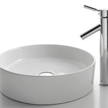 Ceramic Circular Vessel Bathroom Sink with Faucet (white)