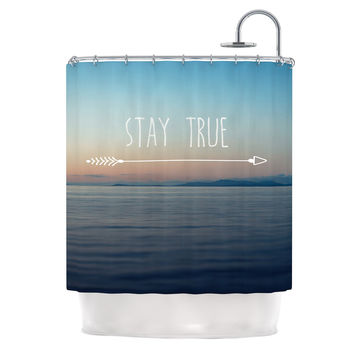 "Ann Barnes ""Stay True"" Coastal Typography Shower Curtain"