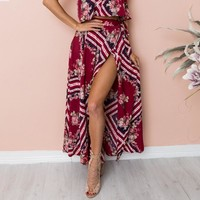 Geometric print women skirt long Beach boho casual maxi skirt sash high waist tie up wrap skirt