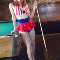 Roackabilly High Waist Sailor swimsuit swimskirt