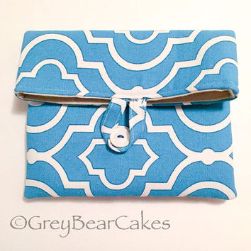 Geometric Makeup Clutch, Fold over Makeup Pouch, Blue and White Cosmetics Bag
