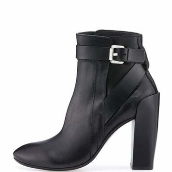 Costume National Strappy Leather Ankle Boot, Black