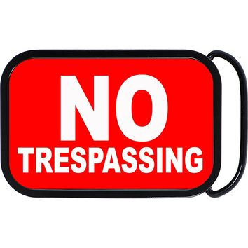 Red No Trespassing Belt Buckle