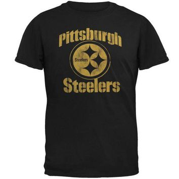 PEAPGQ9 Pittsburgh Steelers - Distressed Logo Soft T-Shirt