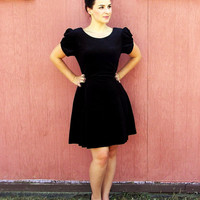 Velvety Vintage (retro black 80s early 90s  prom cocktail bridesmaid black dress roses bow size medium small knee length short)