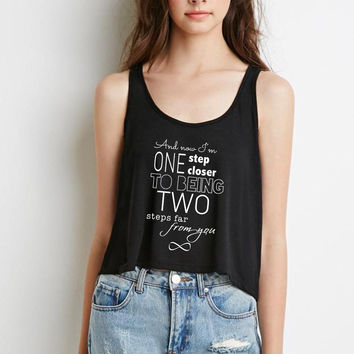 "One Direction ""Infinity - And now I'm one step closer to being two steps far from you"" Boxy, Cropped Tank Top"