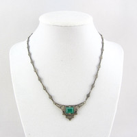 Art Deco Silver Chrysoprase & Marcasite Necklace Antique 900 Silver Natural Green Chalcedony Stone Jewelry