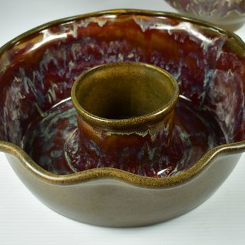 Rustic Pottery Clay Glaze Chip & Dip Bowl Country Kitchen Cabin Lodge