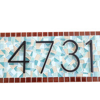 House Number Sign in Brown and Aqua // Mosaic Address Plaque
