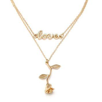 Fashion Rose Flower Pendant Multilayer Gold Color Chain Choker Necklace Jewelry For Women Charm Letter Love Colar Necklace Gift