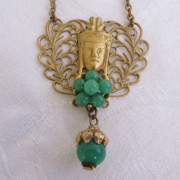 Vintage Buddha Necklace, Filigree with Peking Glass Beads, Bib Style, Spiritual Jewelry, 24 Inch Chain