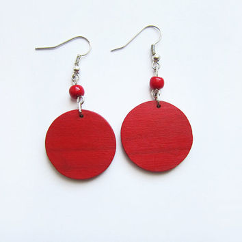 Retro wooden earrings, earrings wood, red, hand painted, handmade