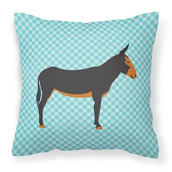 Catalan Donkey Blue Check Fabric Decorative Pillow BB8029PW1818