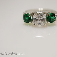 Princess Cut CZ & Green Lab Emerald 3 Stone Ring Sterling Silver Cubic Zirconia Engagement, Anniversary, Promise Ring 1.8ct/.46ct  Size 4-12