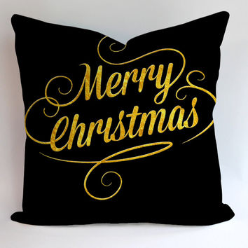 Merry Christmas Gold Pillowcases Pillow Cases Covers Square Design Home Decoration
