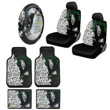 Licensed Official Suicide Squad Joker Car Truck Front Seat Covers Floor Mats Steering Wheel Cover